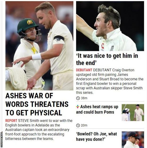 The Brisbane-based Courier Mail focused on the sledging employed by England