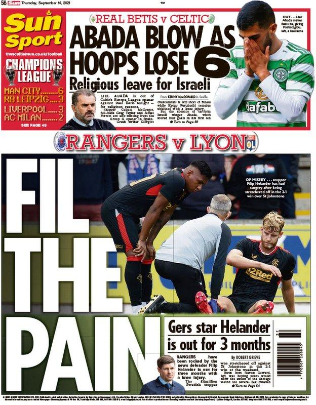 The back page of the Scottish Sun on 160921