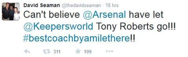 Former England and Arsenal goalkeeper David Seaman tweets on Roberts' move
