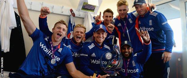 England celebrate after the ODI series win
