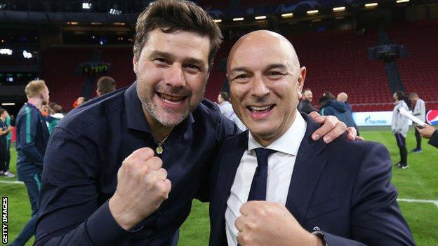Former Tottenham boss Mauricio Pochettino with chairman Daniel Levy