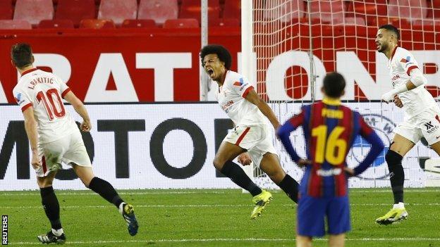 Sevilla celebrate their opening goal