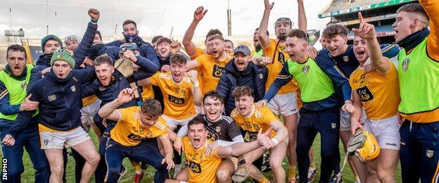 Antrim held off Kerry to win the Joe McDonagh Cup at Croke Park in December