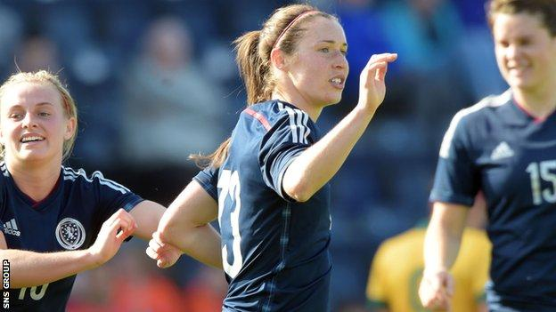 Jane Ross in action for Scotland