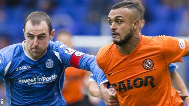 Mario Bilate (right) in his final game against St Johnstone