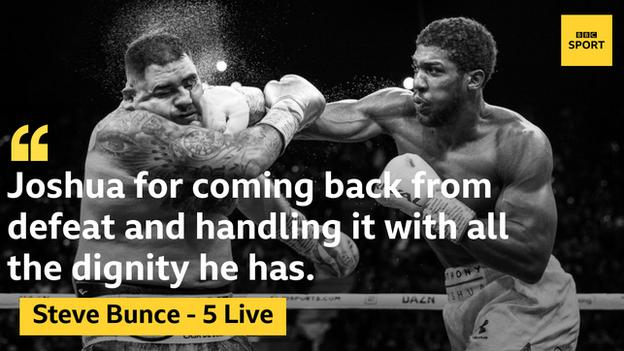 Joshua lost to Andy Ruiz Jr on 1 June but regained three of the world heavyweight titles by beating the Mexican