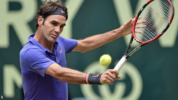 Roger Federer in action in the Gerry Weber Open in Halle