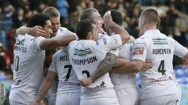 Widnes players celebrate