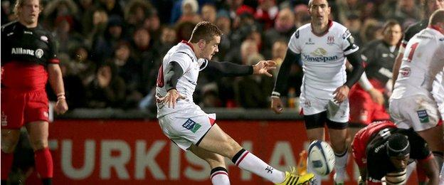 Ulster fly-half Paddy Jackson fires over a drop goal to put the hosts 6-0 ahead