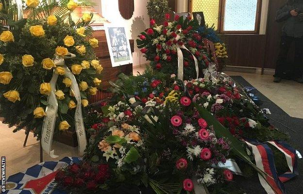Tributes to Pavel Srnicek at his funeral in Ostrava, Czech Republic, on Monday