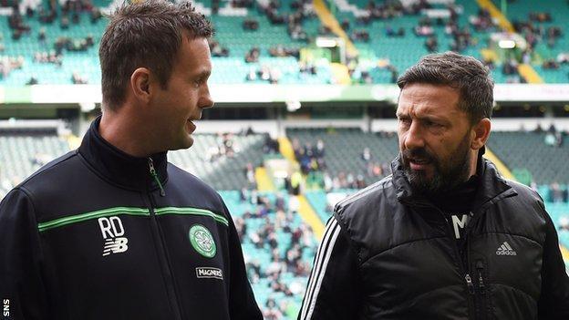 Celtic manager Ronny Deila and Aberdeen's Derek McInnes