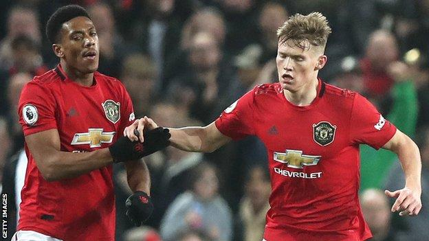 McTominay (right) was injured in Manchester United's win over Newcastle, where Anthony Martial (left) scored twice
