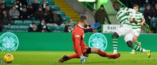 Celtic striker Timothy Weah scores against St Mirren
