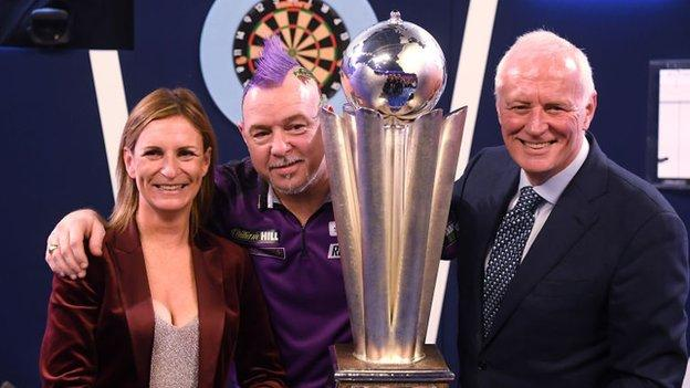 Barry Hearn (right) with world darts champion Peter Wright in January