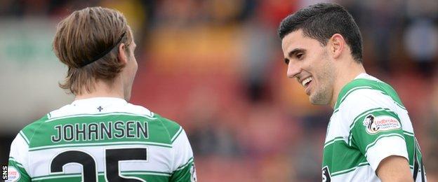 Celtic midfielders Stefan Johansen and Tom Rogic