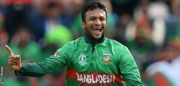 Bangladesh all-rounder Shakib Al Hasan celebrates taking a wicket against Afghanistan