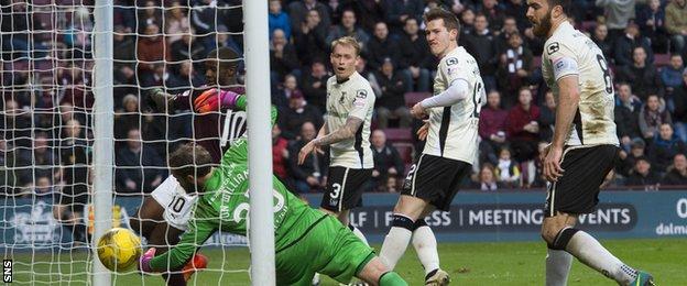 Arnaud Djoum bundles the ball beyond Owain Fon Williams to haul Hearts level against Inverness