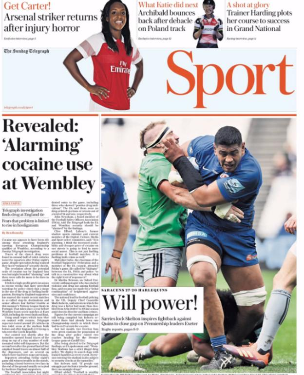 The Telegraph raises the use of cocaine at Wembley