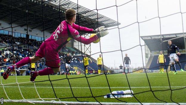 Livingston goalkeeper Marc McCallum saves John Baird's penalty