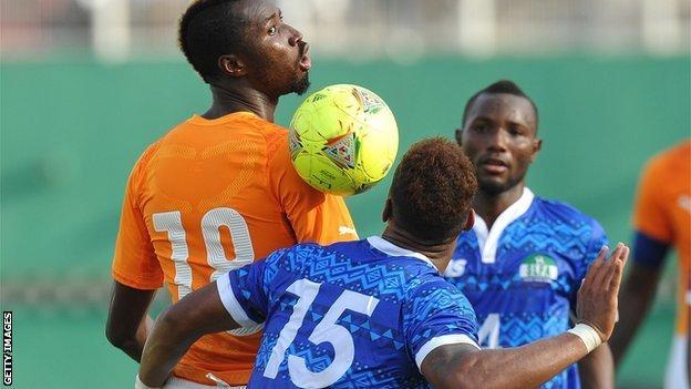 Sierra Leone playing against Ivory Coast