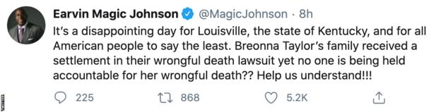 "Magic Johnson tweet: ""It's a disappointing day for Louisville, the state of Kentucky, and for all American people to say the least. Breonna Taylor's family received a settlement in their wrongful death lawsuit yet no one is being held accountable for her wrongful death?? Help us understand!!!"""