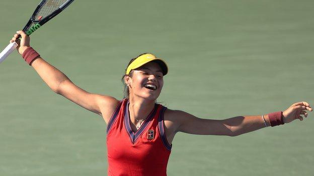 Emma Raducanu celebrates winning at the US Open