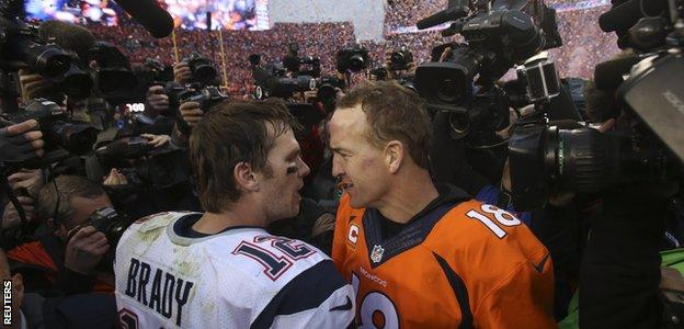Tom Brady and Peyton Manning after the AFC Championship game in January 2016