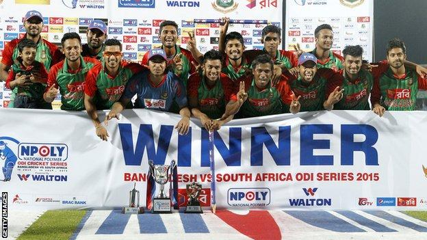 Bangladesh celebrate with the one-day series trophy