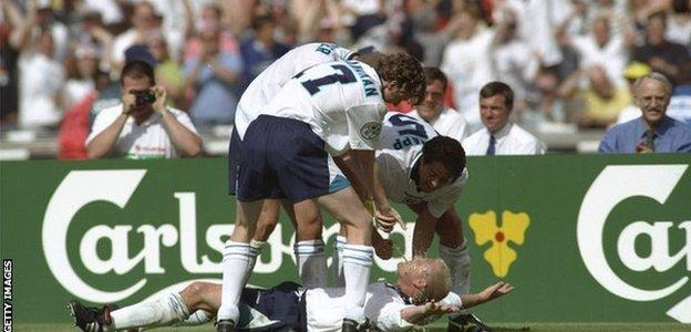 England celebrate a goal by Paul Gascoigne against Scotland at Euro 96