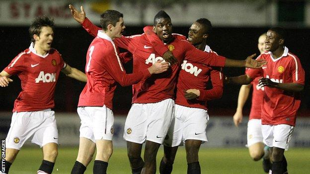 Paul Pogba playing for Manchester United's youth team
