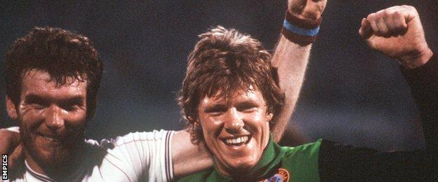 Reserve keeper Nigel Spink and matchwinner Peter Withe (left) were the heroes of the greatest day in Villa's history, the European Cup final win over Bayern Munich in Rotterdam in 1982
