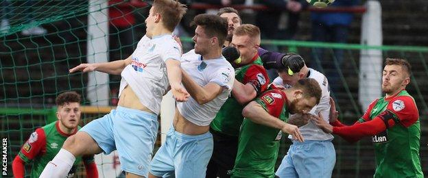 Ballymena's win away to Glentoran was their fourth league victory in a row.