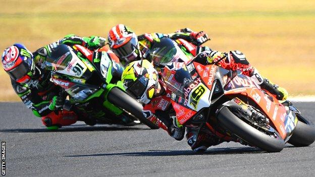 Alvaro Bautista took the lead on lap one and romped home to win by 15 seconds