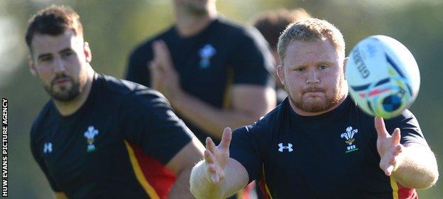 Wales prop Samson Lee in training