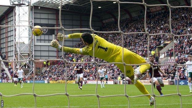 Hearts goalkeeper Craig Gordon saves during the Edinburgh derby