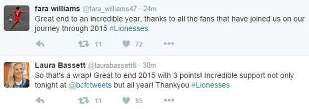 Fara Williams and Laura Bassett tweets
