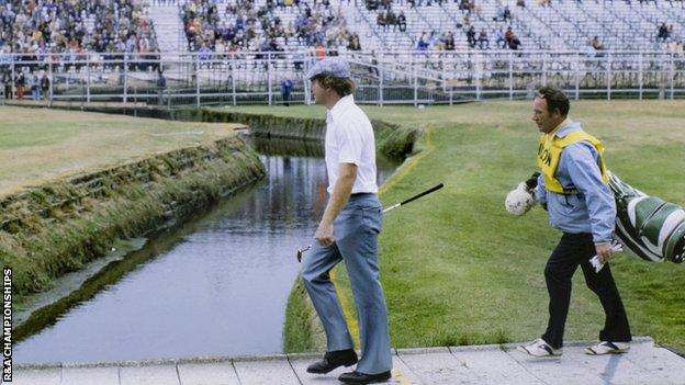 Tom Watson and caddie at the 1975 Open