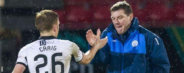 St Johnstone's Liam Craig and manager Tommy Wright shake hands
