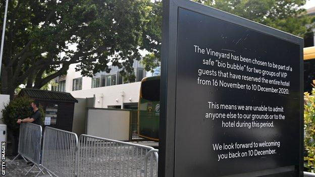 A sign outside the hotel where South Africa and England were staying