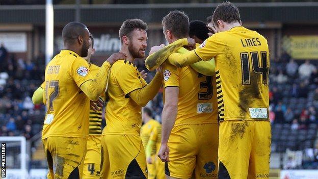 Bristol Rovers celebrate Lee Brown's goal