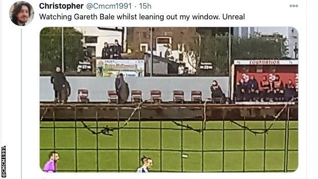 Picture of Gareth Bale playing on Rossett Park from fan's window