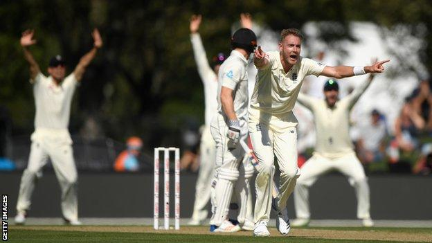 England's Stuart Broad successfully appeals for a wicket
