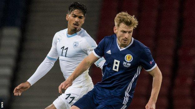 Stuart Armstrong playing for Scotland against Israel