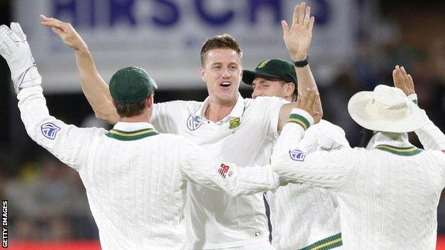 South Africa's Morne Morkel celebrates a wicket against Zimbabwe