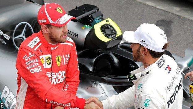 Sebastian Vettel (left) and Lewis Hamilton