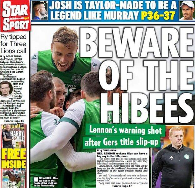 The back page of the Scottish Daily Star on 260909