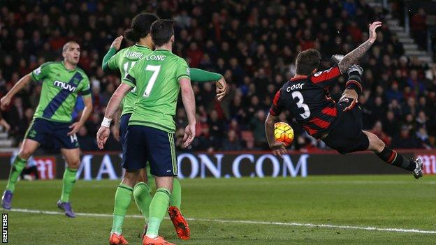 Bournemouth defender Steve Cook scores his second goal of the season