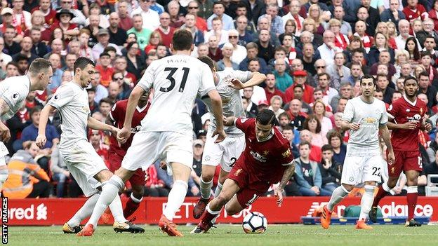 Liverpool v Manchester United - Philippe Coutinho is fouled in the box