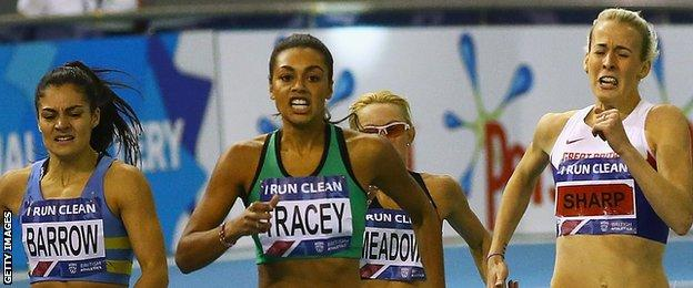 Adelle Tracey wins the women's 800m at the Indoor British Championships in Sheffield