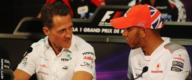 Michael Schumacher and Lewis Hamilton speaking ahead of the 2012 Monaco Grand Prix